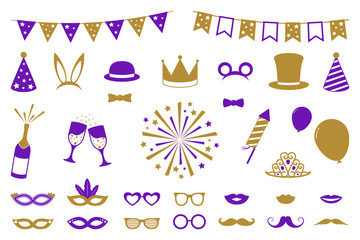 Collection of elements for birthday party, photo booth or carnival. Funny costumes. Vector.