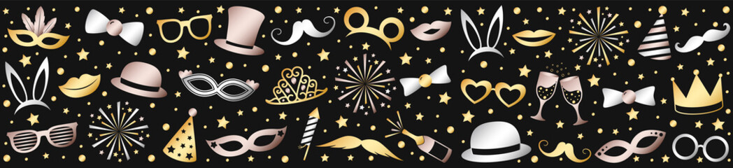 Party or Carnival banner with shiny elements. Vector.