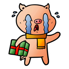crying pig cartoon delivering christmas present