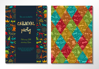 Two sided Carnival invitation. Vector.