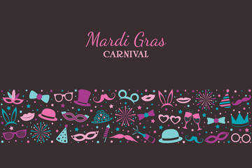 Mardi Gras - banner with funny icons. Vector.