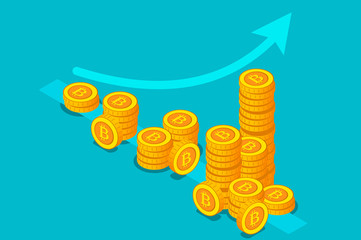 Bitcoin income money stack. Banner with bitcoin growth of revenue concept. Banner with stacks of gold coins like income graph. Vector flat illustration isolated on empty background