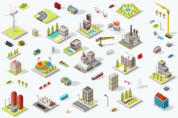 Set of isometric city buildings. Town district landscape with urban infrastructure streets and houses. 3D map vector illustration.
