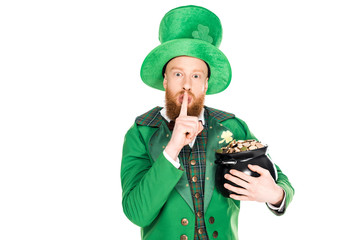 leprechaun with pot of gold showing silence symbol, isolated on white