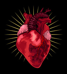 Human heart on black background. Vector illustration in tattoo style