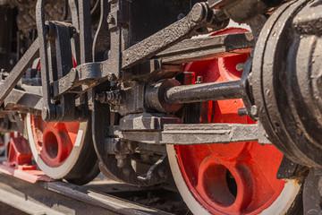 Old locomotive, details. Transport theme. Toned