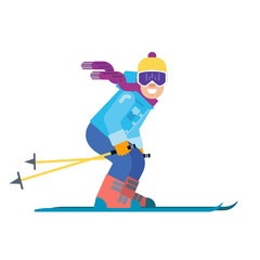 Cartoon skier isolated. Skiing sportsman character in ski suit vector illustration. Smiling man on skis on white background.