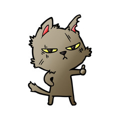 tough cartoon cat giving thumbs up symbol