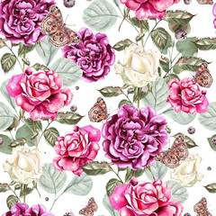 Beautiful watercolor pattern with flowers rose and butterfly.