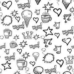 sfondo bianco con segni e icone
