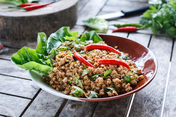 Thai food Ground pork salad or Spicy minced pork salad