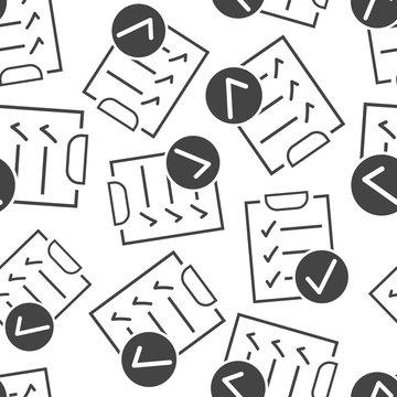 Checklist notepad document seamless pattern background. Business flat vector illustration. Survey symbol pattern.