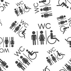 WC, toilet seamless pattern background. Business flat vector illustration. Men and women sign for restroom symbol pattern.