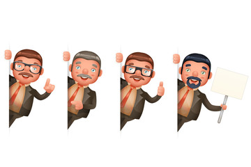 Businessman Look Out Corner Cute Man 3d Realistic Cartoon Character Design Isolated Set Vector Illustration