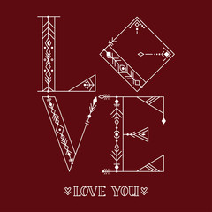 LOVE. Hand drawn typography poster. For greeting cards, Valentine day, wedding, posters, prints or home decorations.Vector illustration