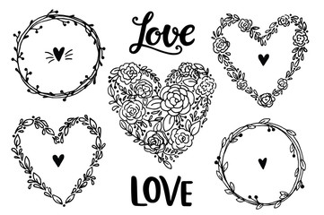 Hand drawn rustic vintage heart wreaths. Floral vector collection