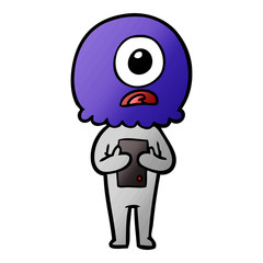 cartoon cyclops alien spaceman