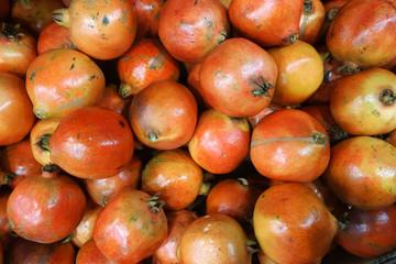 Fresh pomegranates on the farmer market