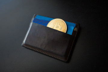 Bitcoin coin in the wallet