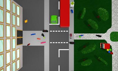Stadtansicht von oben: Fußgängerampel mit Personen, bunten Autos, Bus und Park.