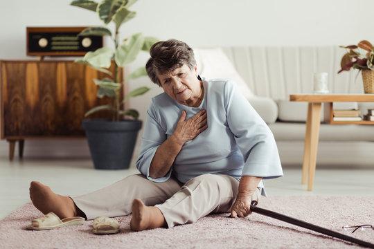 Disabled elder on the floor