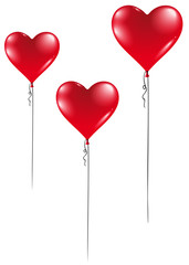 three Heart balloons for Valentine's Day
