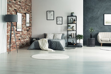 Apartment with grey walls