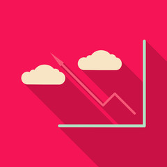 Schedule chart with clouds on table vector. Economic visualization information, business report graph illustration