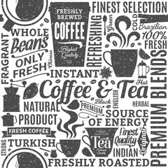 Retro styled typographic vector coffee and tea seamless pattern or background