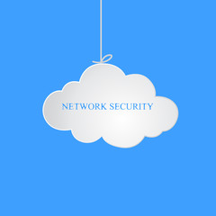 The suspended cloud. Business illustration with the inscription:network security