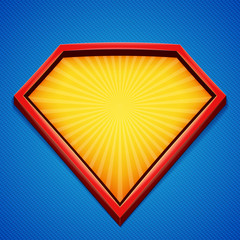 Superhero background. Superhero logo template. Red, yellow frame with divergent rays on blue backdrop. Vector illustration.
