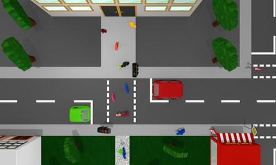 Stadtansicht von oben: Fußgängerampel mit Personen, bunten Autos und Häusern.