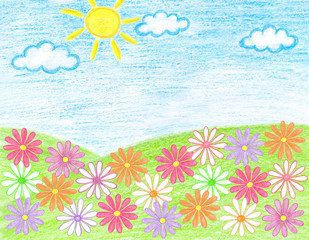 """Colorful handmade pencils drawing """"Summer, flowers in the field"""",  kid's art style, self-drawn floral motif wallpaper"""