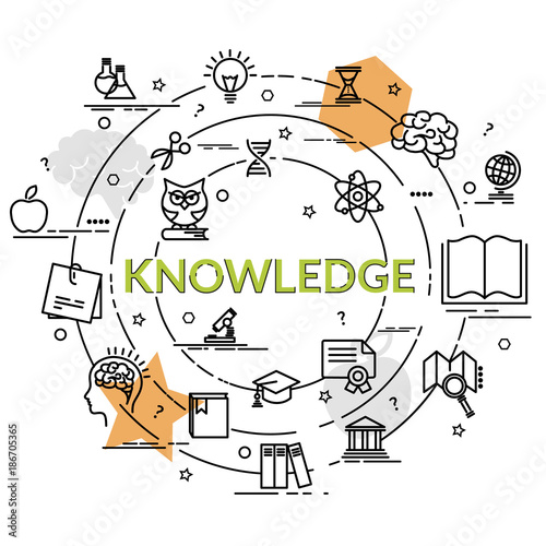 flat colorful design concept of knowledge infographic idea of