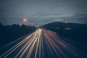 Highway Traffic at Night - Dynamic Background with light trails