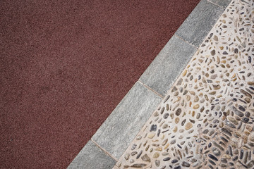 Perspective View of Various Color Grunge Brick Stone on The Ground for Street Road. Sidewalk, Driveway, Pavers .