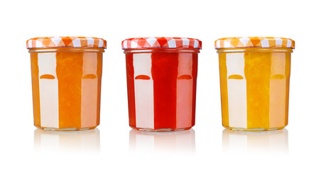 various jars of fruit jam, isolated on white