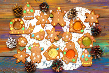 ginger cookie top view. Tasty Christmas background.