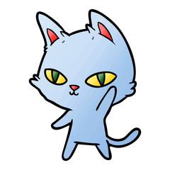 cartoon cat waving