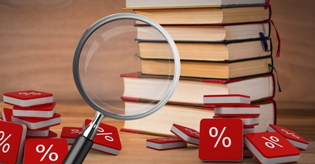 3D Magnifying glass over books with percent symbol icons