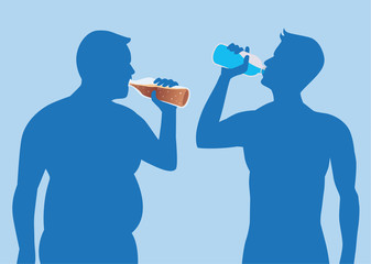 Silhouette Fat Man drink soda but healthy man drink pure water. illustration about health care.