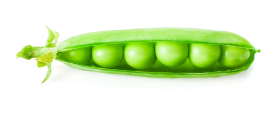 Fresh pea pod isolated on white background