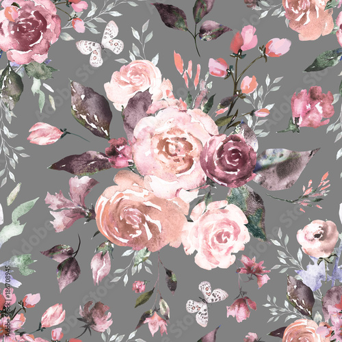 Seamless Pattern With Pink Flowers And Leaves On Gray