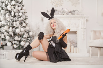 beautiful slim girl in black sexy rabbit dress posing with a carrot near the christmas tree and white fireplace with new year gifts