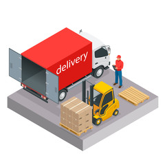 Isometric delivery and shipment service. Vector illustration