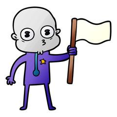 cartoon weird bald spaceman with flag