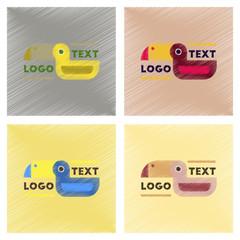 assembly flat shading style icons bird logo