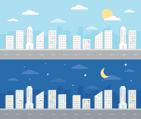 Day and night Landscape City Background Flat Design illustration