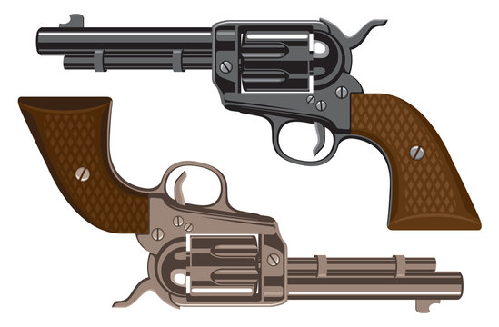 Collection of big old Revolvers. Bronze and black metal gun. Vector illustration of two American colts isolated on white background.