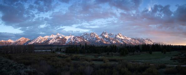 Grand Teton mountain range during sunrise